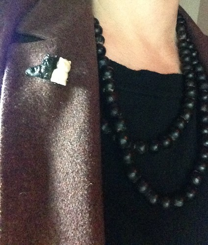 3 things recently thrifted: a necklace made of seeds, Scottie dogs pin; wool jacket | by yougrowgirl
