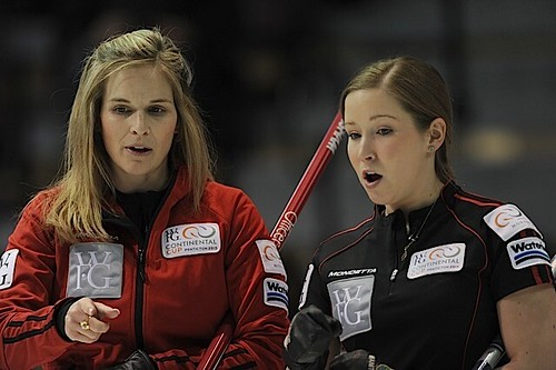 Penticton B.C.Jan11_2013.World Financial Group Continental Cup.Team North America  skip Jennifer Jones(L),third Kaitlyn Lawes.CCA/michael burns photo | by seasonofchampions