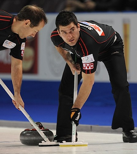 Penticton B.C.Jan12_2013.World Financial Group Continental Cup.Team North America lead Craig Savill,second Brent Laing.CCA/michael burns photo | by seasonofchampions