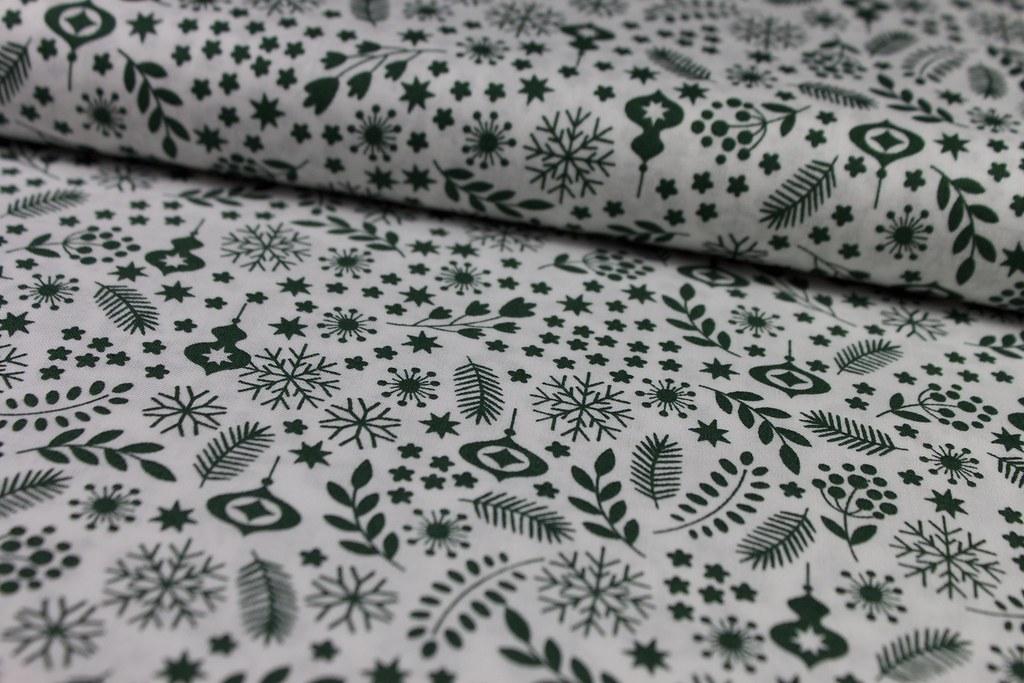 "Baumwollstoff ""Christmas"", grün"