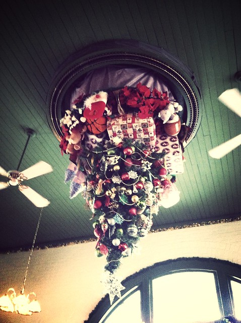 There Is A Christmas Tree On The Ceiling