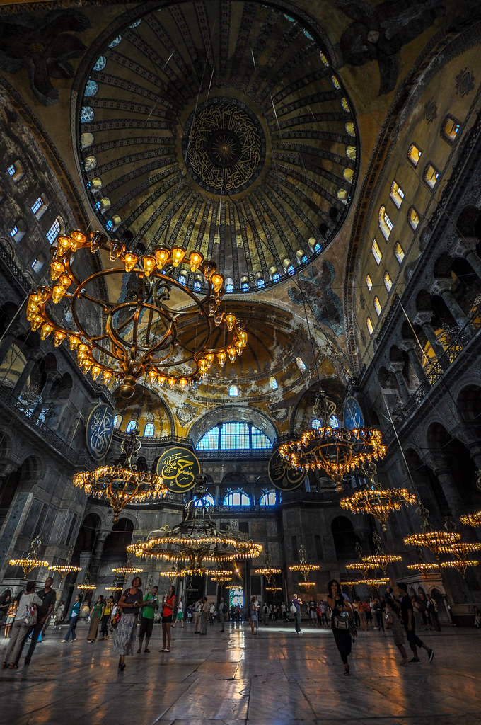 The 306m dome and the chandeliers with islamic patterns flickr the 306m dome and the chandeliers with islamic patterns hagia sophia by aloadofball Images