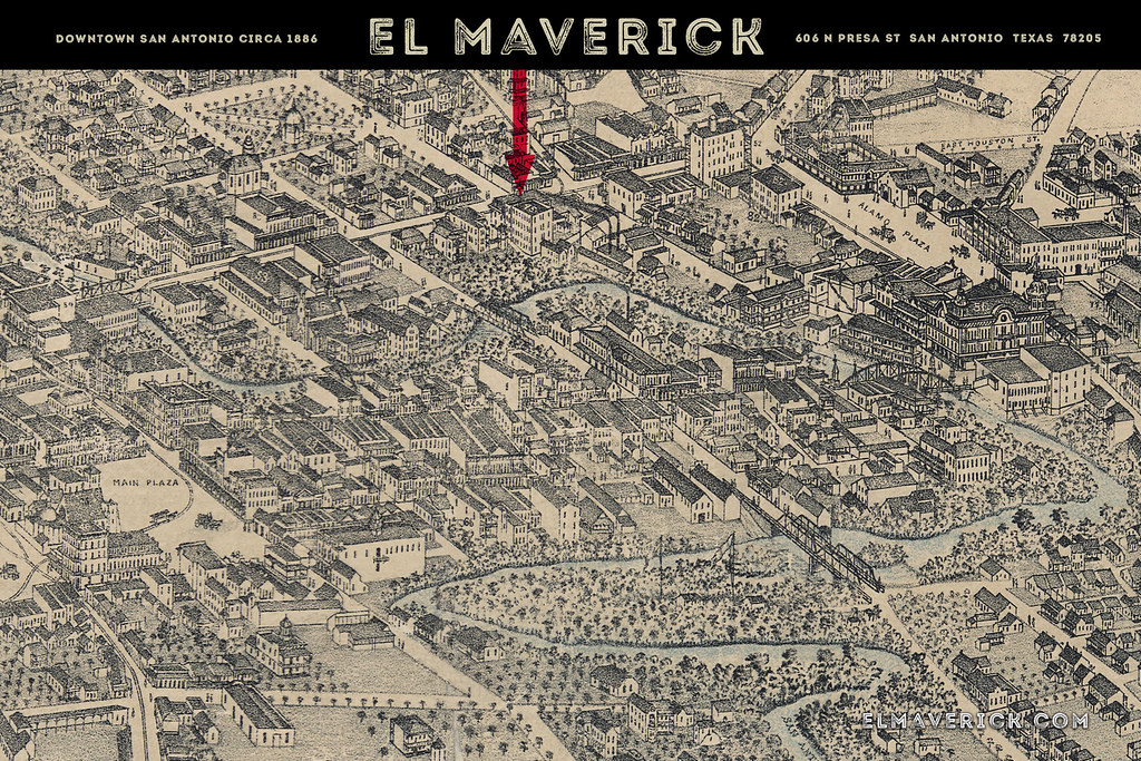 El Maverick 1886 San Antonio Map Downtown Card The exist Flickr