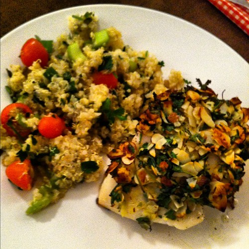 Almond crusted halibut with Quinoa salad #food | Jon | Flickr