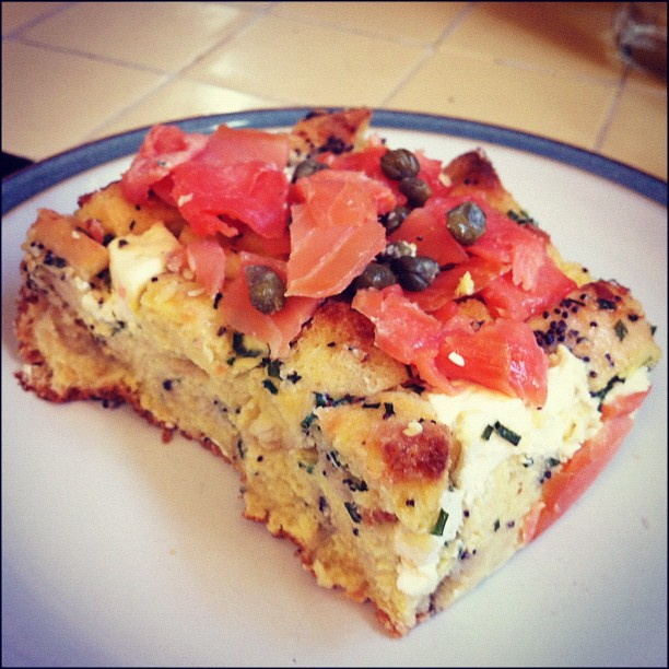Smoked Salmon and Bagel Breakfast Casserole. http://www.chow.com ...