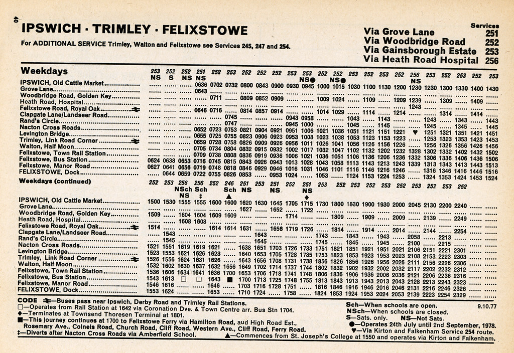 Eastern Counties Bus Timetable Ipswich To Felixstowe Mon To Sat October 1977
