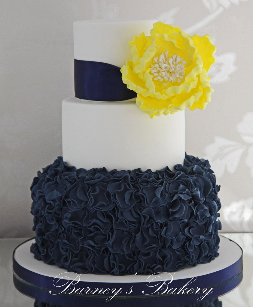 Lace Wedding Cake Gold Navy Blue