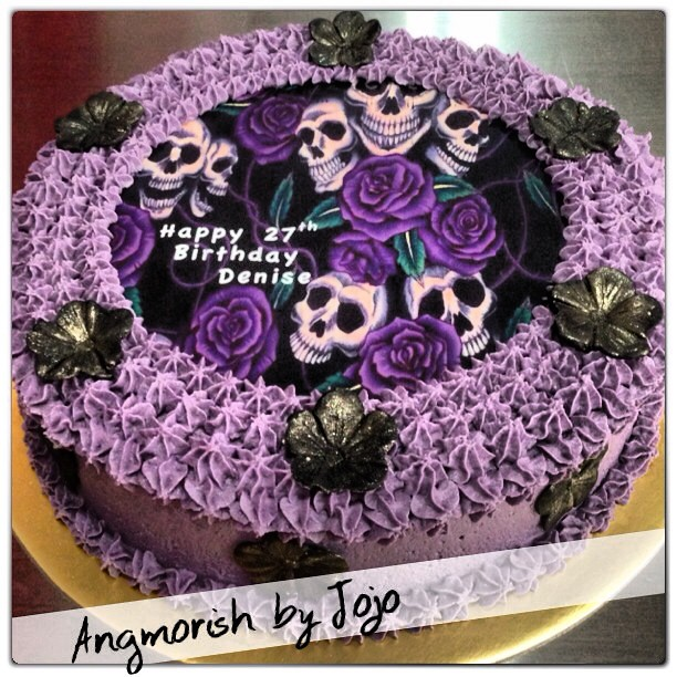 Denise S Bakery Cake Design Akademie : A #purple & #skulls themed #birthday #cake for Denise. #bu ...
