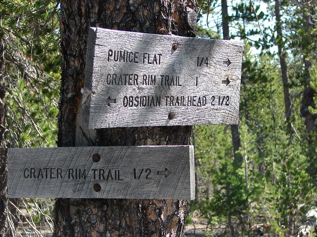 Trail signs along the Lost Lake Trail