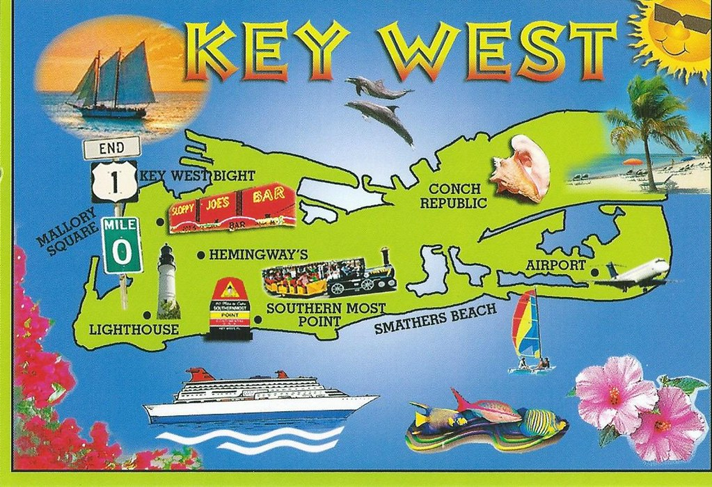 It is an image of Universal Printable Map of Key West