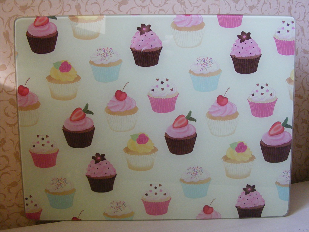 cupcake glass chopping board next cupcake glass