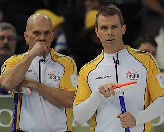 Edmonton Ab.Mar5,2013.Tim Hortons Brier.Manitoba skip Jeff Stoughton,third Jon Mead.Howard.CCA/michael burns photo | by seasonofchampions