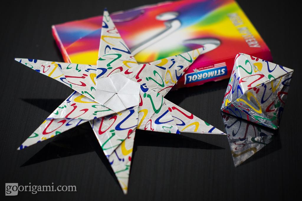 gum wrapper origami modular star and octahedron maria