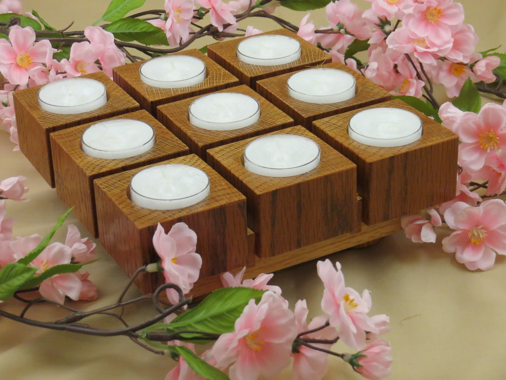 Wooden candle centerpiece for tea lights a practical