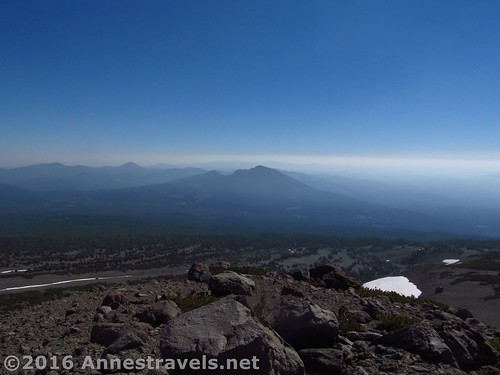 The view down the mountain from Butte 9000 on the side of Mt. Shasta, Shasta-Trinity National Forest, California