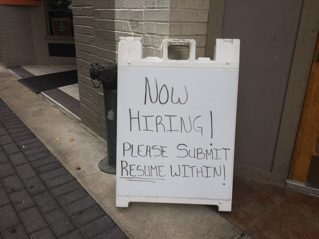now hiring please submit resume within sign