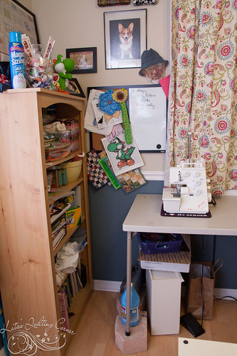 Bookshelf, serger and whiteboard | by MagnoliaFly