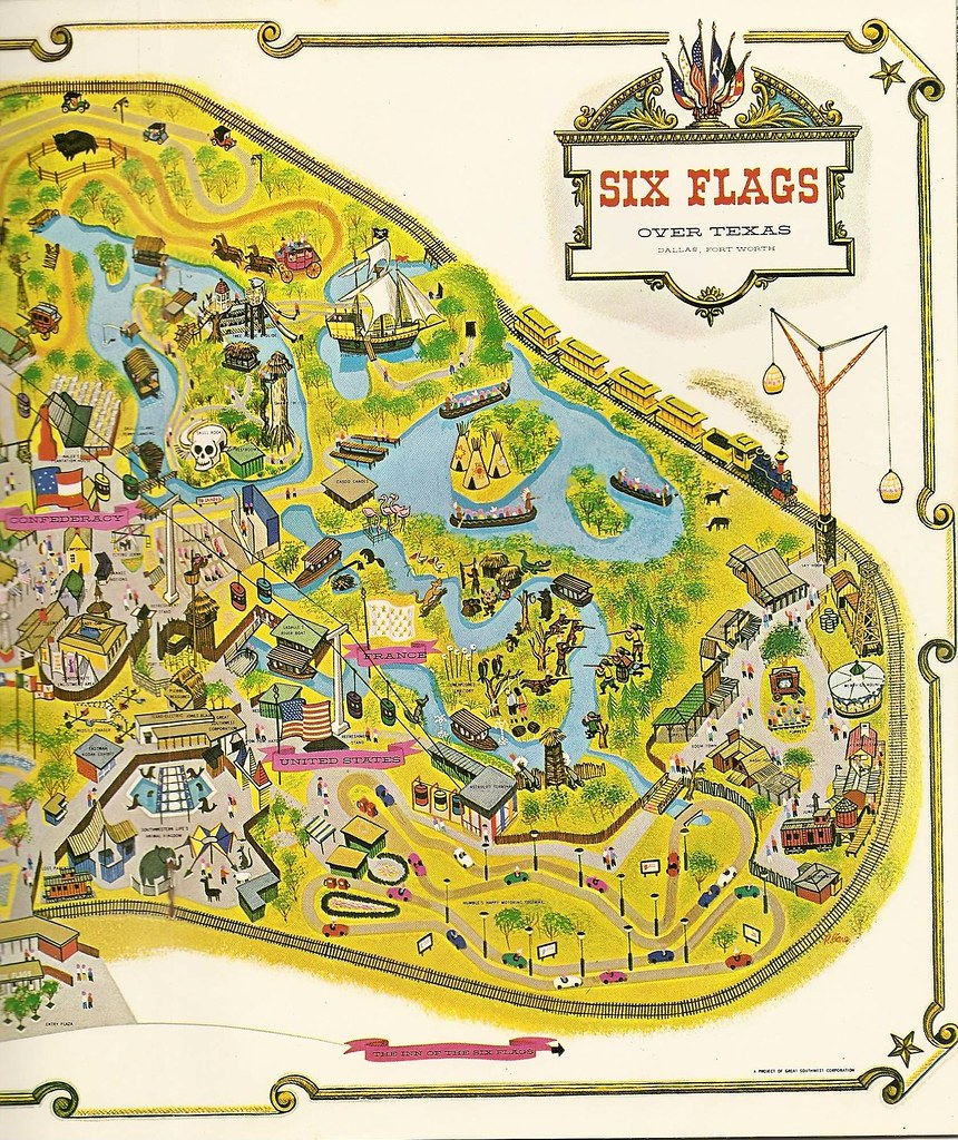 Six Flags Over Texas East Early Map Of Six Flags Over Tex Flickr