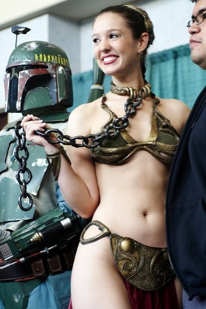 Slave leia chained to masters cock deepthroat and cumplay