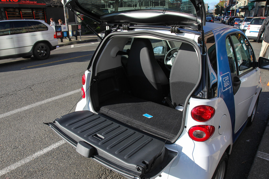 car2go smart car trunk with my membership card same size flickr. Black Bedroom Furniture Sets. Home Design Ideas