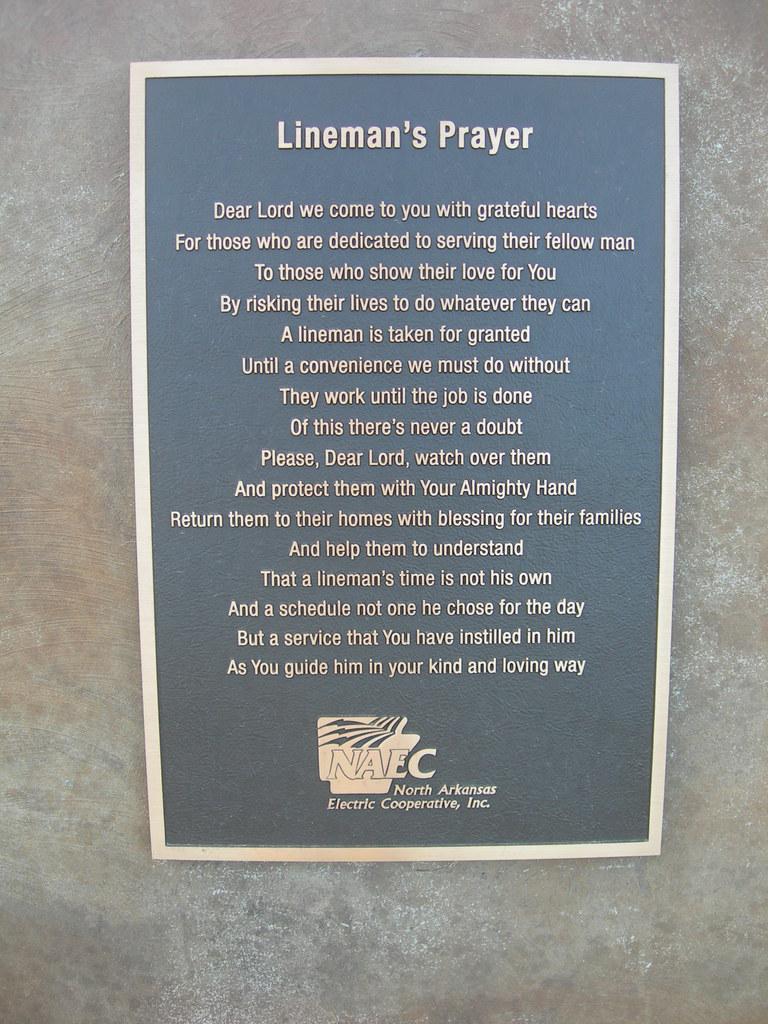 The Lineman S Prayer Plaque Salem Arkansas In Front Of