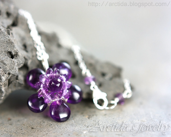 Amethyst Necklace Wire Wrapped In Sterling Silver Purple Flickr