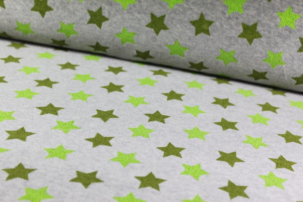 """Nickistoff """"Sterne"""", grün *Reststück*"""