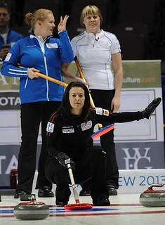 Penticton B.C.Jan11_2013.World Financial Group Continental Cup.Team North America skip Heather Nedhoin,Team World skip Margaretha Sigfridsson,third Maria Prytz.CCA/michael burns photo | by seasonofchampions
