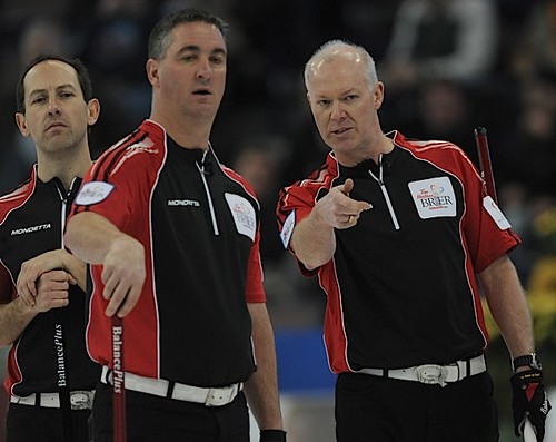 Edmonton Ab.Mar7,2013.Tim Hortons Brier.Ontario skip Glenn Howard,third Wayne Middaugh,second Brent Laing.CCA/michael burns photo | by seasonofchampions