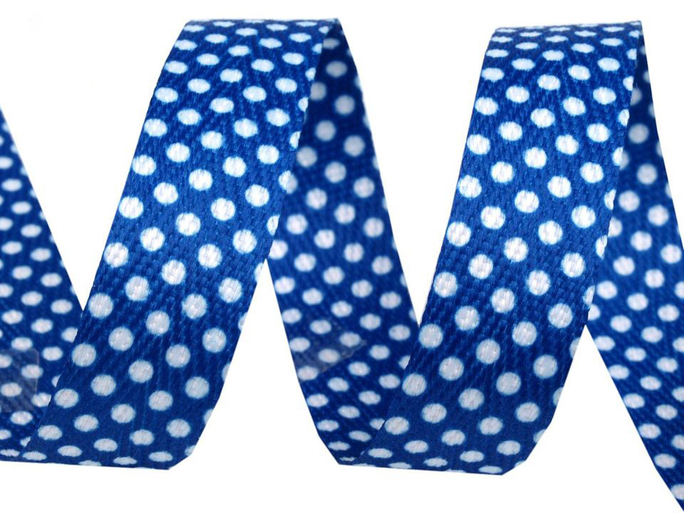 """Köperband """"Tupfen"""" 18mm, blau"""