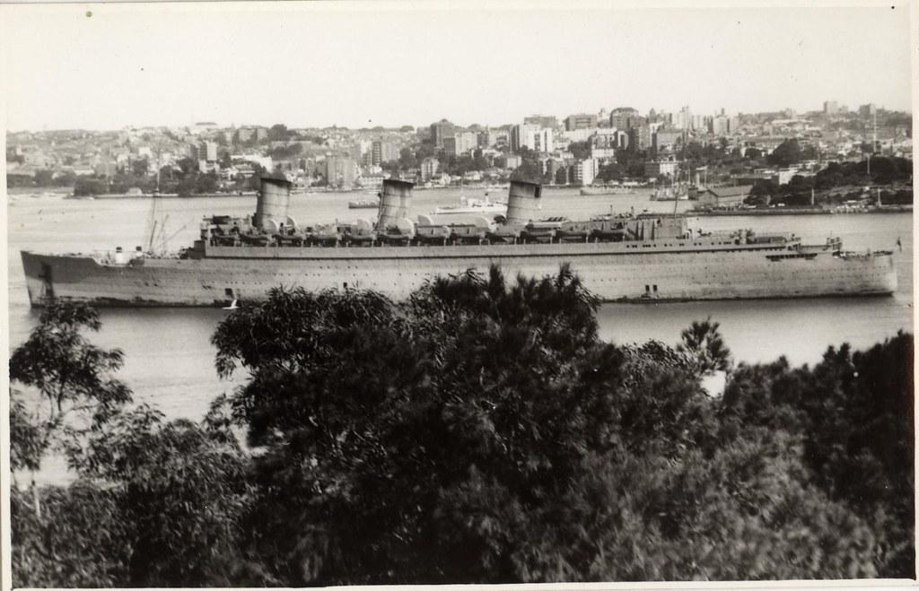 Hm Troopship Queen Mary In Sydney World War Ii Photogra
