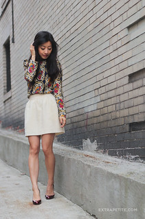 baroque blouse ivory skirt1 | by ExtraPetite.com