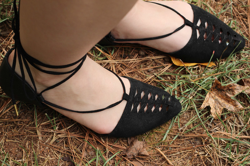 Black Pointed Lace Up Flats from Modcloth