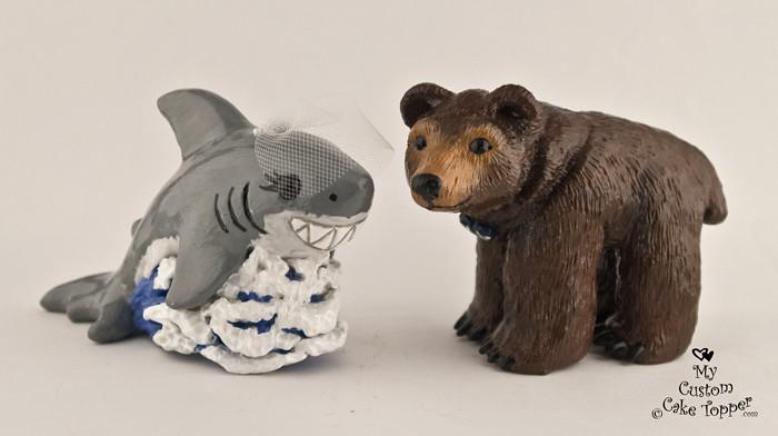 Shark And Bear Wedding Cake Topper