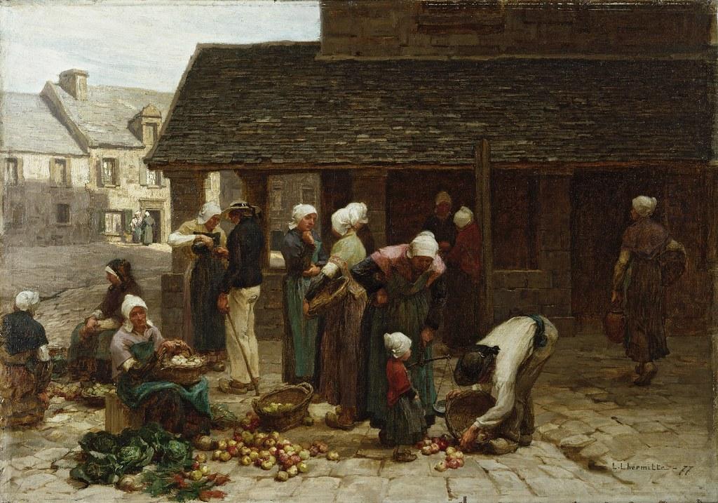 Léon Lhermitte - Market Place of Ploudalmézeau, Brittany ...