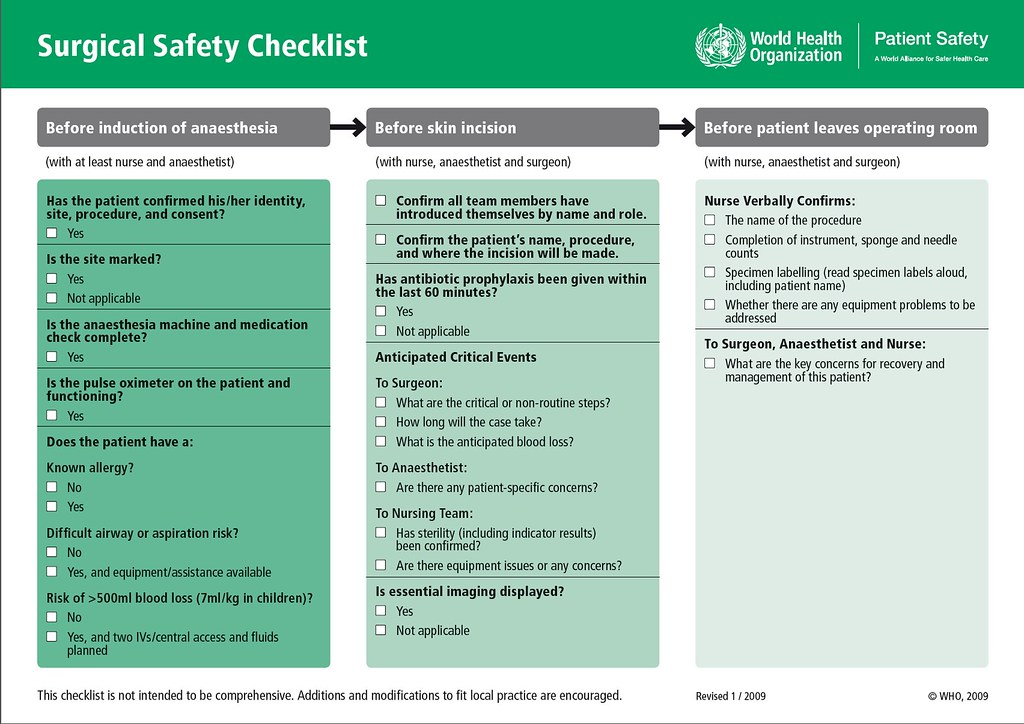 WHO Surgical Safety Checklist | Copyright 2009 World Health … | Flickr