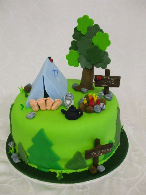 Campingcake Camping Cake Post Sign Trees Rocks Tent T