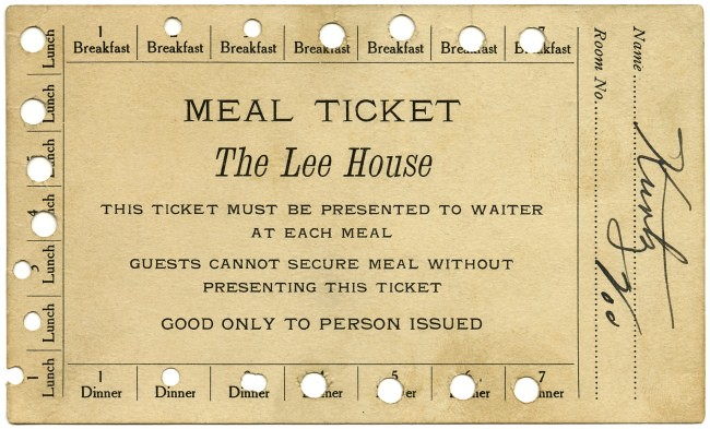 the lee house meal ticket
