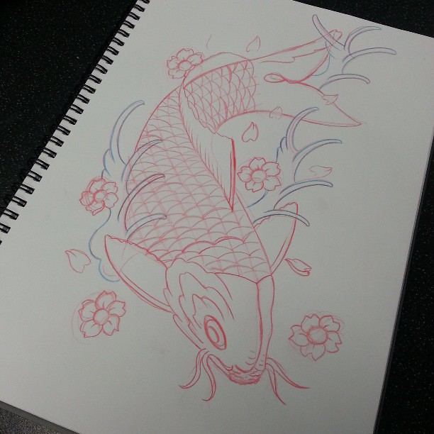 First koi sketch for a long long time. #tattoo #sketch #ar… | Flickr