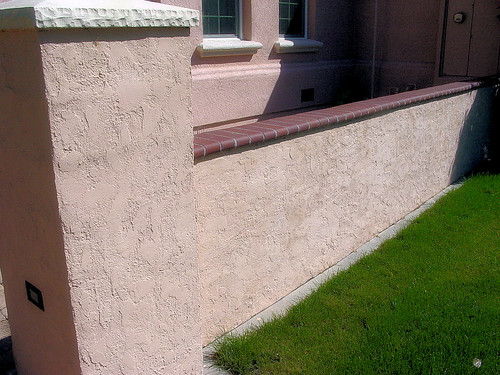 block wall column with stucco brick cap block wall