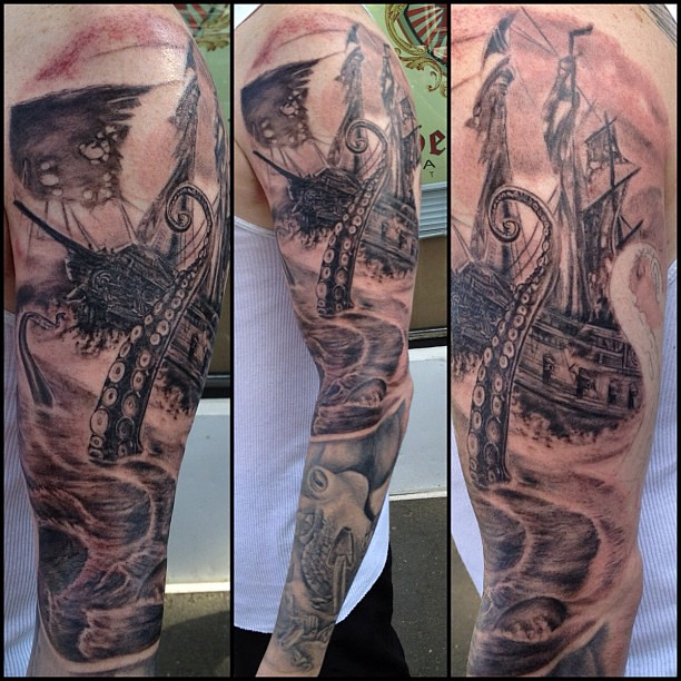 Javier Eastman Tattoo Octopus Pirate Ship Blac And Grey Flickr