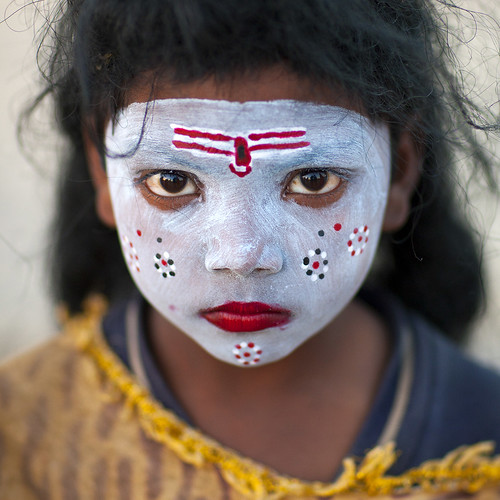 Little girl with make up in Kumbh Mela, Allahabad, India | by Eric Lafforgue