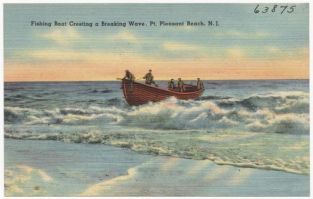 Fishing boat creating a breaking wave pt pleasant beach for Point pleasant fishing boats