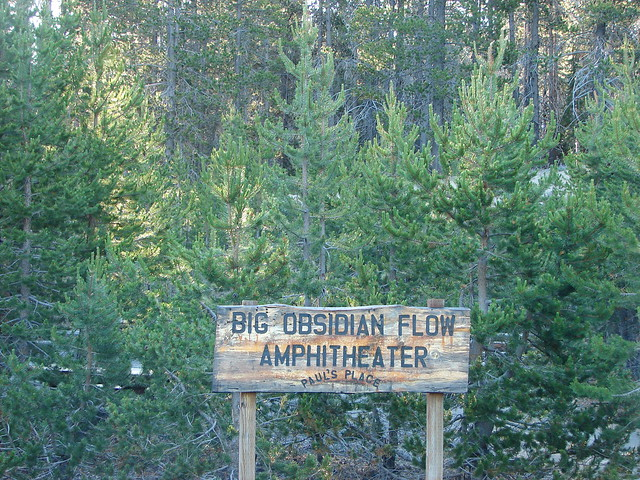Big Obsidian Flow Amphitheater sign at the trailhead