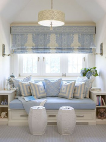 Rinfret Ltd Light Blue And White Window Seat Daybed Bed Bu