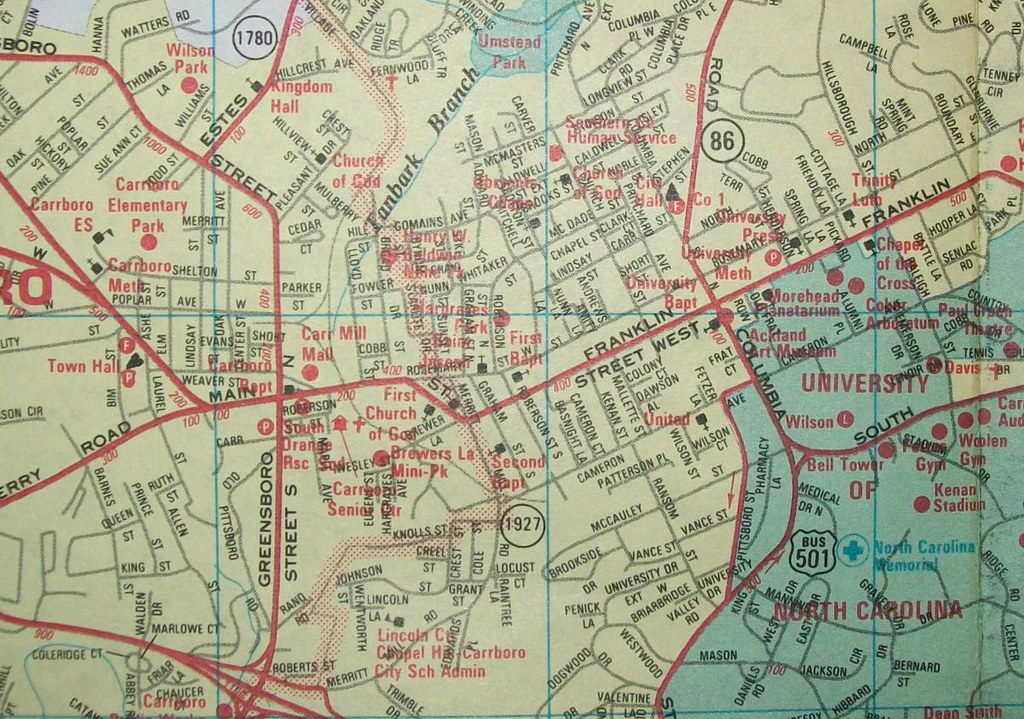 Carrboro and Chapel Hill NC 1997 Map by ADC Alexandria D Flickr