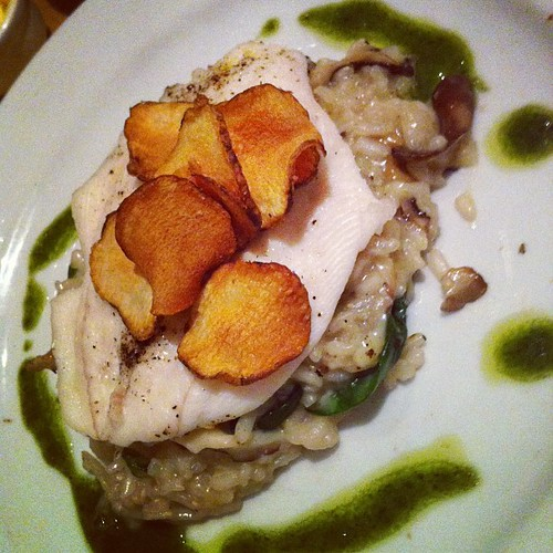 Lemon #sole #fish with Ballyhoura #mushroom #risotto for #dinner @fennsquay @caitl
