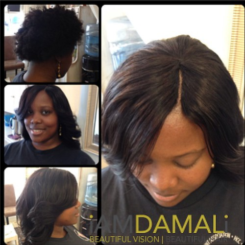 Before and after. Natural hair client. Full sew-in with in