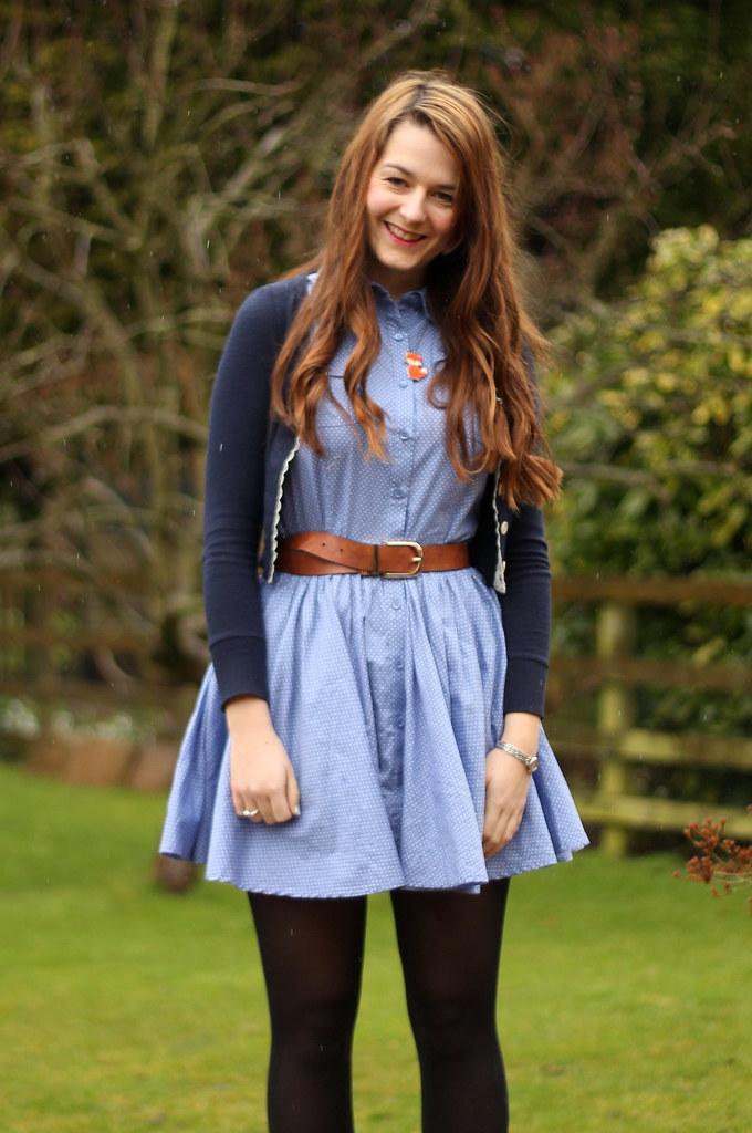 Blue Polka Dot Dress Shirt Polka Dot Chambray Shirt