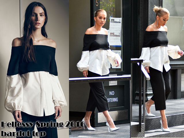 Hellessy-Spring-2016-bardot-top-with-black-culottes-pants cropped trousers, cropped pants, black cropped trousers, black cropped pants , bell sleeves top, bouffant sleeves top, over the shoulder top, black and white over the shoulder top, over the shoulder blouse